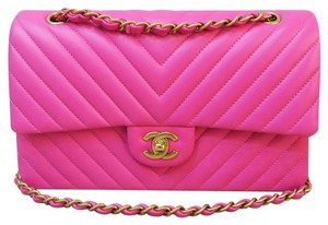 Chanel Chevron Cf Pink Lambskin Shoulder Bag