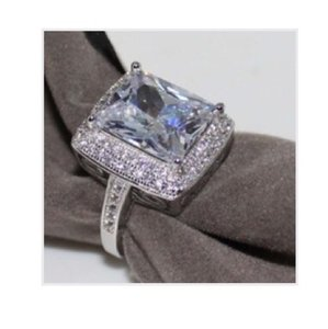14ct Emerald cut AAA CZ engagement cocktail ring