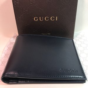 Gucci Gucci 278596 men wallet bifold margaux calf blue leather