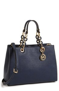 Michael Kors Cynthia Blue Satchel in Navy Blue/Gold hardware