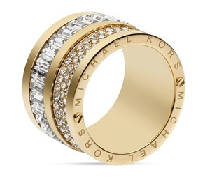Michael Kors NWT Michael Kors Multi Stone Gold Barrel Ring Sz 8 Pave, Stone