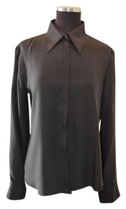 Emporio Armani Silk Button Down Shirt Black
