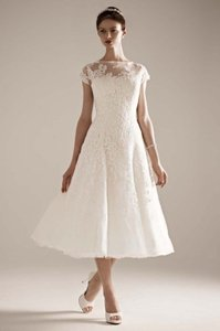 Oleg Cassini Cap Sleeve Illusion Cmk513 Wedding Dress