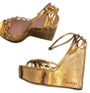 Gucci Metallic Summer Spring Gold Wedges