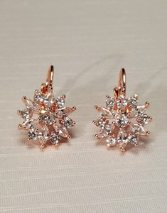 Romantic Cubic Zirconia Rose Gold Plated Lever Back Earrings