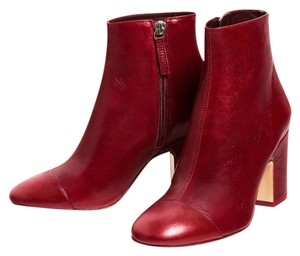 Zara Leather Block Red Boots