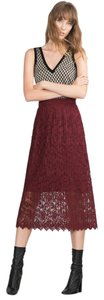 Zara Burgundy Lace Pleated Red Skirt Burgundy red
