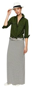 J.Crew Nautical Striped Summer Maxi Skirt White navy