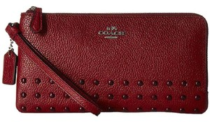 Coach Coach 54709 Red Currant Leather Lacquer Rivets Double Zip Wallet