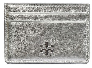 Tory Burch Tory Burch Caitlin Metallic Silver Leather Card Case Wallet