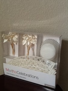 Martha Stewart Cream Ivory Lacey Cupcake Wrappers with Ivory Bow Cake Topper