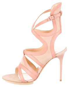 e18d9246b49c Balenciaga Pink Suede Leather Wrap Ankle Ankle Strap Strappy Cage Stiletto  Beige Sandals