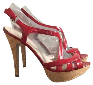 Guess red patent leather Platforms