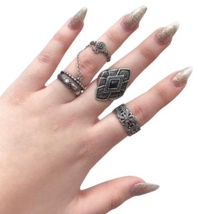 Urban Outfitters silver boho rings set