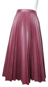 BCBGMAXAZRIA Pleated Leather Night Out Skirt Burgundy red wine