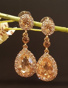 Wedding Champagne Austrian Crystal Gold Plated Earrings