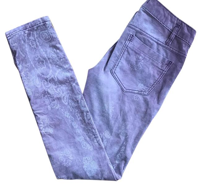 Item - Light Wash Corduroy Paisley Print Skinny Jeans Size 27 (4, S)