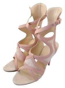Balenciaga Pink Leather Suede Wrap Beige Sandals
