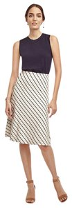 Ann Taylor Flared Knit Skirt White with Black Stripes