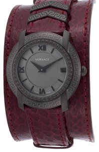 Versace Versace Women's Burgandy Genuine Leather Gunmetal Dial