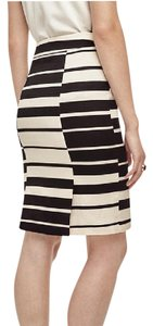 Ann Taylor Pencil Contrast Woven Professional Skirt Black and White