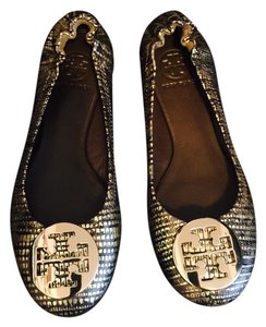 Tory Burch Black and Gold Flats