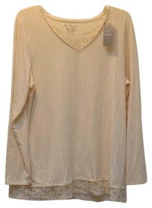 Chico's Lace Trim Longsleeve V-neck Stretchy T Shirt banana crepe