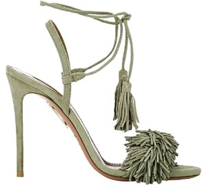 Aquazzura Wild Thing Wild Fringe Green Sandals