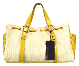 Kenneth Cole Woven Satchel in Canary Yellow