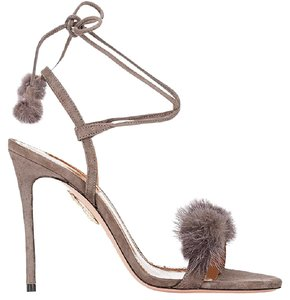 Aquazzura Wild Russian Suede Leather Fur Ball Grey Sandals