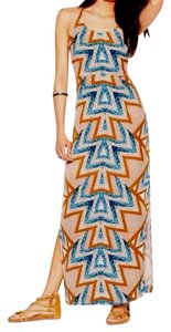 Caramel/Blue Maxi Dress by Free People Maxi Tribal Mint Combo