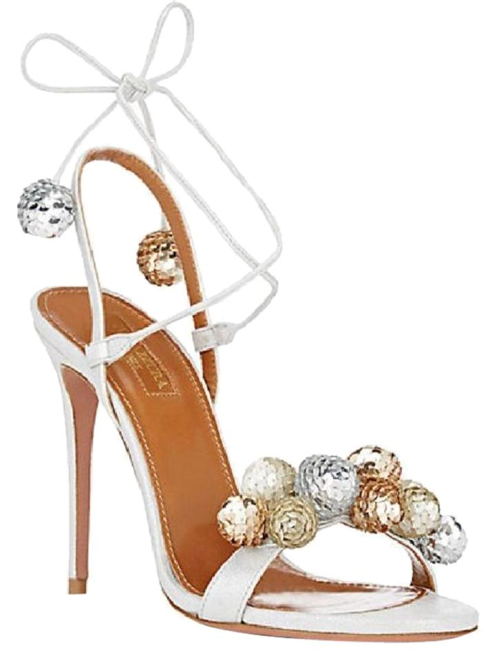 Aquazzura Disco Metallic Silver Suede Leather Disco Aquazzura Ball Sandals d8e789