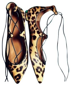 Aquazzura Christy Tie Up Caramel Leopard Flats