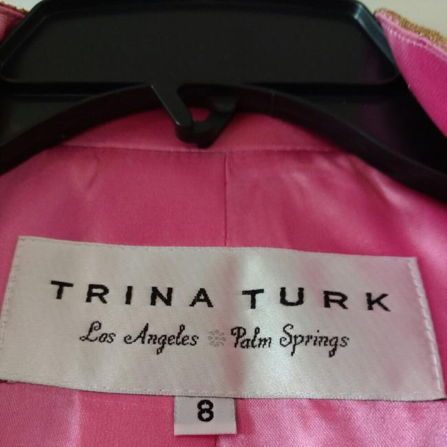 Trina Turk Top Pink with gold lace overlay Image 1