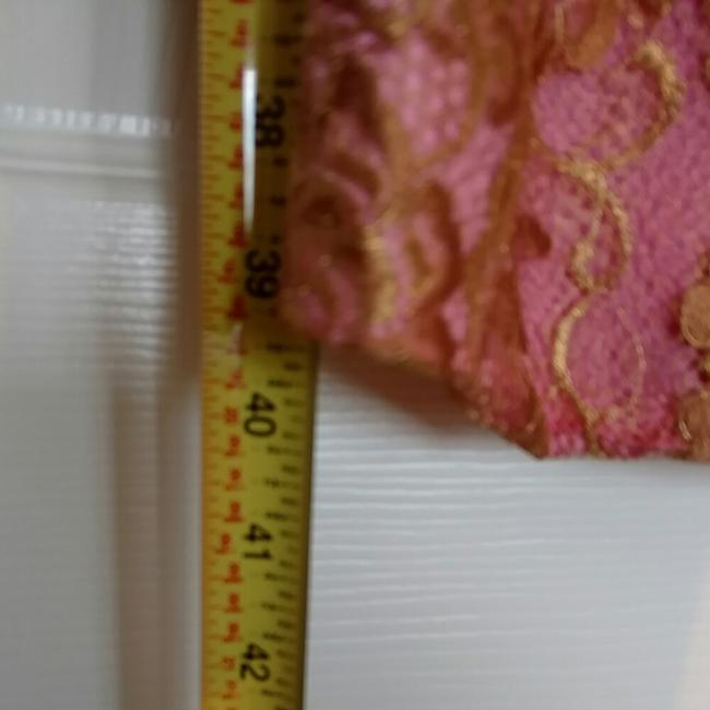 Trina Turk Top Pink with gold lace overlay Image 3