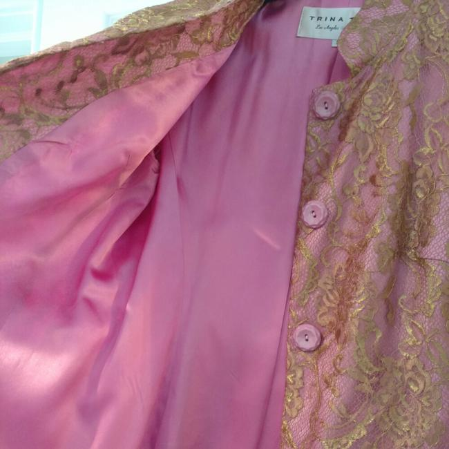 Trina Turk Top Pink with gold lace overlay Image 4