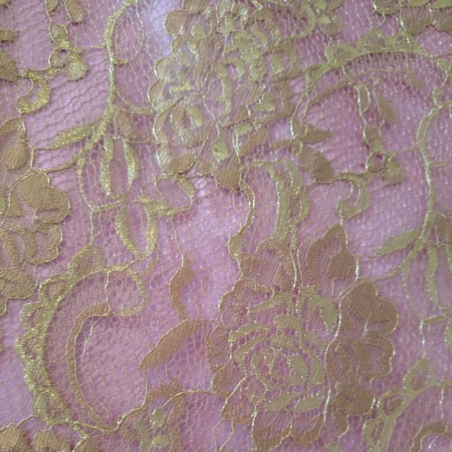 Trina Turk Top Pink with gold lace overlay Image 6