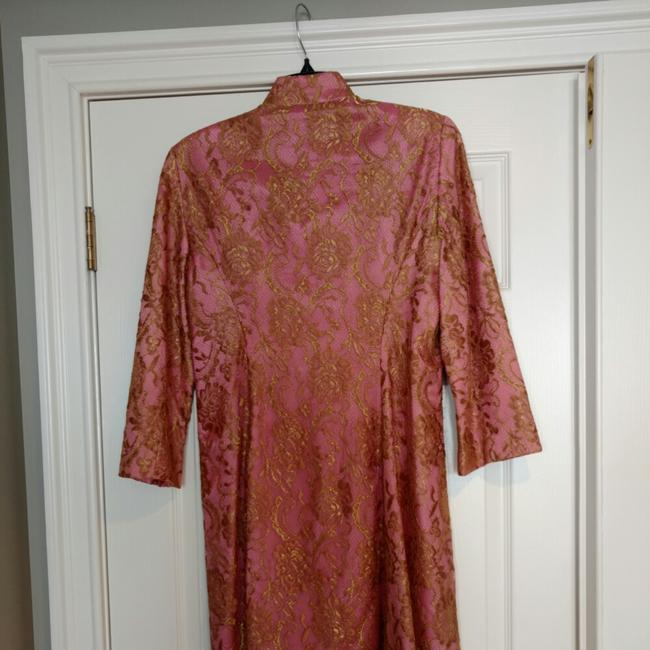 Trina Turk Top Pink with gold lace overlay Image 7