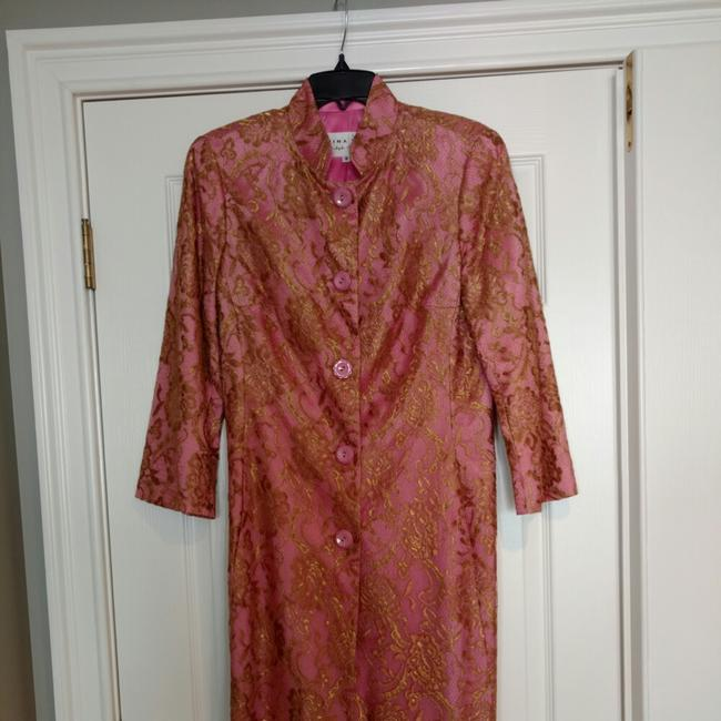Trina Turk Top Pink with gold lace overlay Image 8
