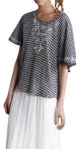 Mes Demoiselles Plaid Textured Boho Festival French Style Effortless Chic Classic Top Blue