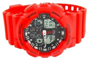 Other Sport Watch Red Black Digital Analog Rubber Band Steel Back