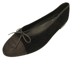 Chanel Cc Ballet Ballerina Tweed Black Flats