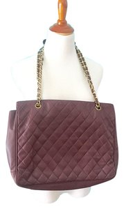 Chanel Quilted Burgundy Satchel Tote in red