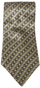 Geoffrey Beene New GEOFFERY BEENE 100% Silk Gold Blue & Browns Geometric Necktie