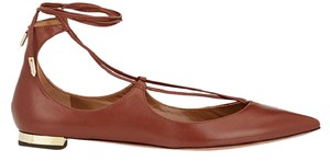 Aquazzura Christy Tie Up Leather Brown Flats