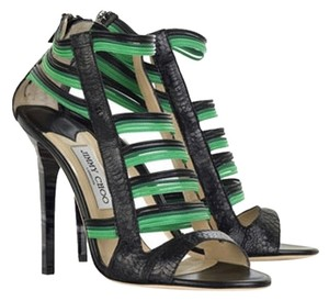 95788bc27a Added to Shopping Bag. Jimmy Choo Leather Snake Animal Print Snakeskin  Strappy Cage Stiletto Pump Black / Green Sandals
