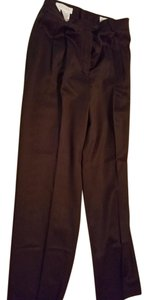 Escada Women Wool Pleated Trouser Pants Brown