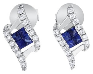 Other 0.60 Ct. Natural Diamond & Sapphire Fashion Stud Earrings in Solid 14k