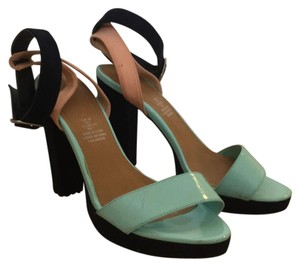 H&M blue aqua peach Platforms