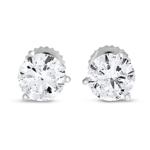 Other 2.02 Ct. Natural Round Diamond Studs Three Prong Basket Screw Back